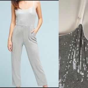 Anthropologie Silver Jumpsuit 2 Sequins Glitter